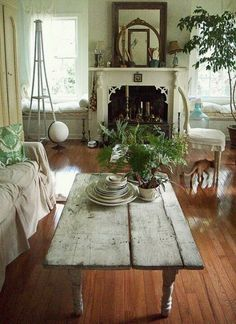 Shabby chic family room