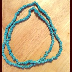 """NEW HOWLITE turquoise square beads necklace. NEW HOWLITE turquoise color square bead necklace. Can be restrung if you choose to. Total length of this necklace is 35"""". Strung on thick plastic cord. Jewelry Necklaces"""