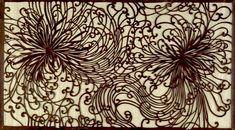 Katagami Textile Stencil with Flowing Chrysanthemum Design | Harvard Art Museums