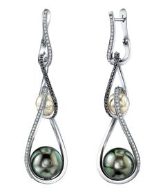Platinum earrings featuring 12.1mm & 12.3mm black Tahitian pearls, 8mm cultured fresh water pearls, 0.99ctw of white diamonds and 0.53ctw of black diamonds.