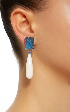 Carved Blue Topaz Earrings with Detachable White Coral
