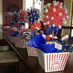 Centerpieces for circus theme homecoming dance. . . From scratch