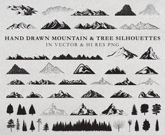 Hand Drawn Mountains and Trees by Seaquint on @creativemarket