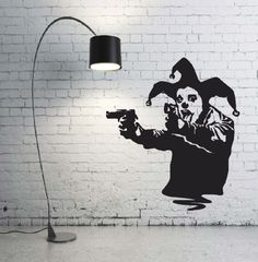 Clown with guns Banksy vinyl wall art decal -