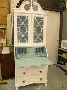 Old White And Duck Egg In The Annie Sloan Chalk Paint. Maybe I Can Do Old  White Outside The Cabinets And A Color Inside.
