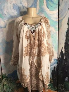 NEW Denim 24//7 IVORY Sequin Embellish BOHO Tunic Blouse Top 14 22 24 26 28 30 34