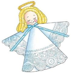 """TLC Family """"Doily Angel"""" - make w/kids photos as the angel head.  doily, pipe cleaner, kids photos"""