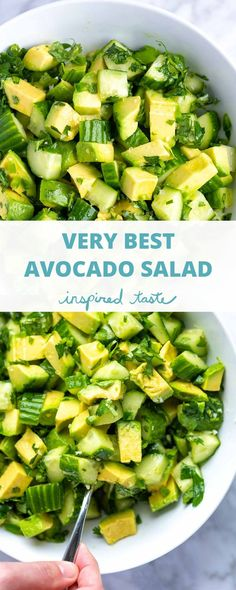 Very Best Avocado Salad I could eat this avocado salad with crunchy cucumbers every day.The salad could not be simpler to make and can be enjoyed all by itself as a side as a chunky salsa or spooned on top of larger salads. Source by cocoonapothecary Avocado Dessert, Avocado Salad Recipes, Spinach Salad, Healthy Salads, Healthy Nutrition, Healthy Eating, Nutrition Tips, Vegetarian Recipes, Cooking Recipes