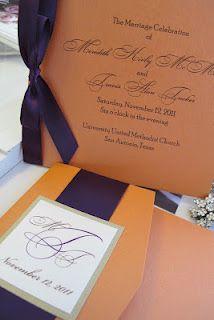 Orange and Eggplant invitation and wedding program