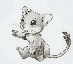Drawing of a baby degu.