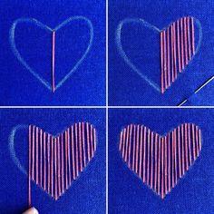 Cómo bordar un corazón tejido | Gineceo
