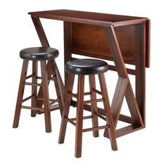 online shopping for Winsome Harrington Drop Leaf High Table 2 Cushion Round Seat Stools, Brown from top store. See new offer for Winsome Harrington Drop Leaf High Table 2 Cushion Round Seat Stools, Brown Solid Wood Dining Set, 3 Piece Dining Set, Dining Room Sets, High Table Set, A Table, Dinner Table, Counter Height Dining Table, Counter Stools, Table Height