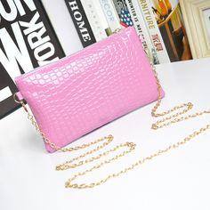 Messenger Shoulder Golden Chain Strap Fashion Crossbody Clutch PU Leather Purple Woman Bag Handbag