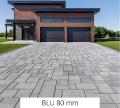 Looking for beautiful, polished and practical pavers? Techo-Bloc's Blu 80 Smooth pavers instantly add character to your landscape or driveway. Cobblestone Driveway, Driveway Paving, Driveway Design, Driveway Landscaping, Driveway Ideas, Driveway Border, Pavers Patio, Paver Walkway, Walkway Ideas