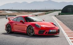 Herunterladen hintergrundbild porsche 911 gt3, 2017, sports car, red porsche, sports coupe, porsche