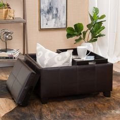 Justin 2-Tray-Top Brown Leather Ottoman Coffee Table w/ Storage