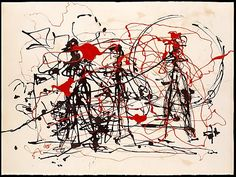 Untitled byJackson Pollock c. 1948-49 dripped ink and enamel on paper at the Met