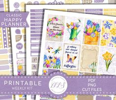 Embrace spring with this Big Happy Planner floral spring weekly printable planner stickers kit from Design Lovely Studio! ✨😄🌸 Check it out! Weekly Planner Printable, Free Planner, Printable Planner Stickers, Happy Planner, Journal Stickers, Bloom Planner, Summer Planner, Motivational, Easter