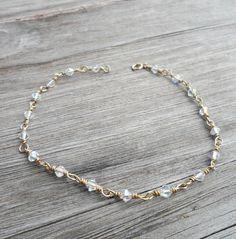 Anklet, Gold Wire Wrapped Swarovski Ankle Bracelet
