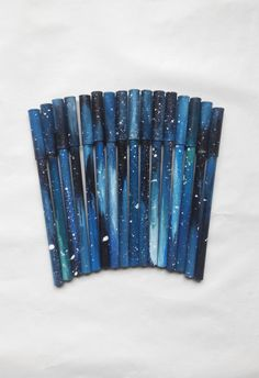 Original galaxy pen, made from recycled paper, painted in acrylic technique in green-blue, black colours. Ravenclaw, Everything Is Blue, Cute Stationary, Stationary Store, Cute Pens, Cute School Supplies, Tumblr School Supplies, Blue Aesthetic, Aesthetic Space