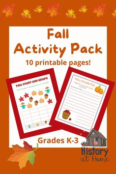 Your students will love this FREE, fun, engaging, 10-page, no prep, printable Fall Activity Pack! This activity pack is full of different activities for K-3. It's great for independent centers, morning work, early finishers, and homeschoolers. Your students are sure to have fun and learn at the same time! #fallactivitypack #fallactivities #printables #activities #JenDodrillHistoryatHome #activitypack #firstgrade #secondgrade #kindergarten #thirdgrade