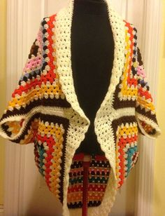 Granny Square Cocoon Sweater Cardigan Shrug, Crochet Shrug, Crochet Cardigan, Crochet Sweater, Crochet Cocoon, One of a kind, Boho, Vintage by HandmadebyHeikeHeart on Etsy