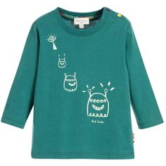 Paul Smith Junior Baby Boys Green 'Moon' Glow in the Dark Top at Childrensalon.com