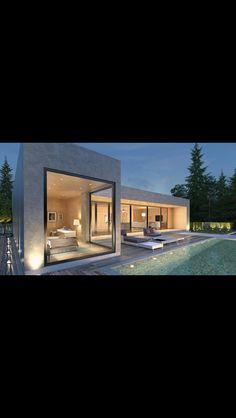 Bungalow House Design, Small House Design, Dream Home Design, Modern House Design, Modern Glass House, Modern House Plans, Home Building Design, Building A House, Plan Ville