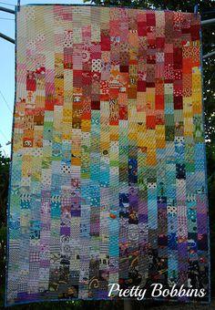 Rainbow scrap quilt | Pretty Bobbins