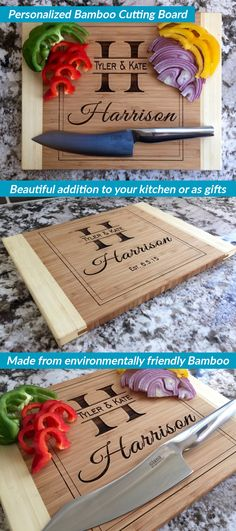 Our Personalized Large Bamboo Cutting Boards are a fantastic price today. It's the perfect opportunity to order one for everyone you know. You'll love the beautiful Harrison style which adds a touch of elegance to your home, or makes a thoughtful gift for someone you love. Customize with the couple's first names, last name, last initial, and anniversary. This will look beautiful in your home whether on display or while in use. They also make beautiful gifts for family and friends!