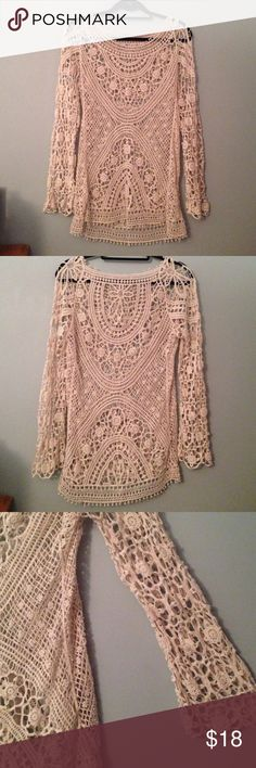 Crocheted Cream Blouse Flared sleeves, loose fitting. Beautiful crocheted design Forever 21 Tops Blouses