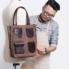 Type: Totes Material: Wax Canvas and Full Grain Leather Color: Coffee/Red Bag Size: Large Style: Casual Open Mode: High Range Zipper Strap Type:Double Handle Magnetic Button:No Bag Length cm Bag Width Bag Height cm Handle Height cm Strap Length cm Canvas Backpack, Canvas Tote Bags, Cowhide Leather, Leather Men, Mothers Bag, Shoulder Bags For School, Canvas Handbags, Red Bags, Canvas Shoulder Bag
