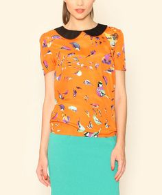 Another great find on #zulily! Orange Bird Peter Pan Top by Pepaloves #zulilyfinds