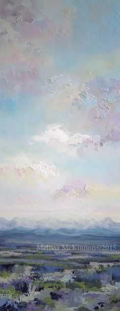 """""""Hint of Spring"""" 16""""x40"""" MELISSA MCKINNON Contemporary Abstract Landscape Artist features BIG COLOURFUL PAINTINGS of Aspen & Birch Trees, Rocky Mountains and stunning views of the Canadian prairies, big skies and ocean beaches. Western Art. Abstract landscape painting of clouds, sky, rural prairie fields and Canadian Rocky Mountains."""