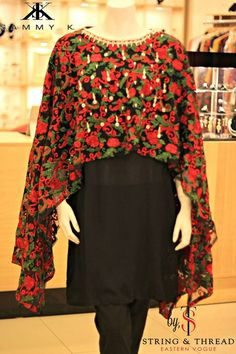 Pakistani Clothes, Designer Sammy K Cape, Jacket, Wrap and Tunic with Inner-2Pc by KaamdaniCouture on Etsy