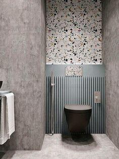 terrazzo and concrete bathroom design, contemporary small bathroom design Terrazzo, Bad Inspiration, Bathroom Inspiration, Bathroom Interior Design, Home Interior, Modern Interior, Open Plan Bathrooms, White Bathrooms, Luxury Bathrooms