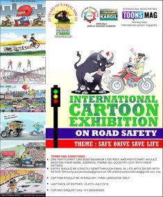 International Cartoon Exhibition, India, Theme: Safe Drive Save Live, Deadline: July Venue:Kargil (J&K), Date: July 2019 Cartoons Magazine, Cartoon News, India First, International Festival, Independence Day, Caricature, Norway, Safe Drive, Comics