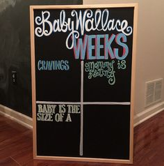Hand Painted Custom Pregnancy Reusable Chalkboard- Baby Gift, Photo Prop, Weekly Pregnancy Update and Stats Pics