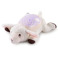 Soother Lamb Slumber Buddies. 5 meditative songs and nature sounds. Calming starry sky display can be projected on ceiling and walls of baby's room. Select from rhythmic light show or relaxing individual colors. 15, 30, 45 minute auto shut-off. 3 level volume control.