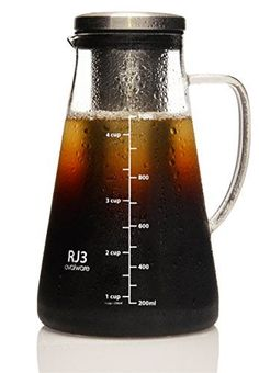 Airtight Cold Brew Iced Coffee Maker and Tea Infuser with Spout  10L Ovalware RJ3 Brewing Glass Carafe with Removable Stainless Steel Filter ** Click on the image for additional details.