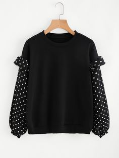 To find out about the Frill Trim Dotted Sleeve Sweatshirt at SHEIN, part of our latest Sweatshirts ready to shop online today! Modest Fashion, Hijab Fashion, Fashion Dresses, Fashion Art, Blouse Styles, Blouse Designs, Fashion Design Sketches, Jacket Pattern, Sweatshirt Dress
