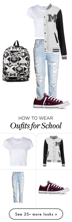 School outfit by miagarcia1004 on Polyvore featuring RE/DONE, Converse and Vans                                                                                                                                                                                 Más