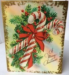 UNUSED Pretty Striped Candy Canes Embossed 1940s Vintage Christmas Greeting Card