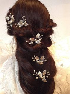 Wedding Hair Barrette-Bridal Hair Pins-Silver Leaves Hair