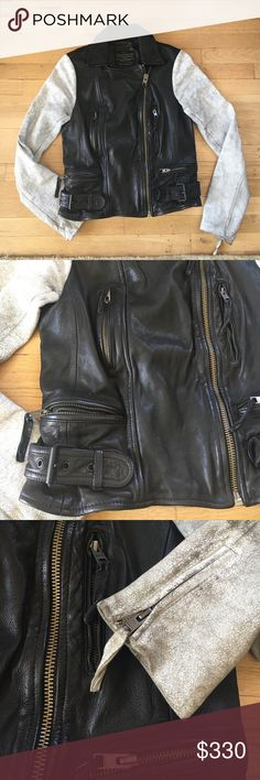 •Rare!• ALLSAINTS Leather bomber jacket US 6 👌 Allsaints - Rare Spitalfields Jack's Place Ladies' Albany Biker Leather Jacket with multiple pocket zips, built in belts, ribbed backing, salt and pepper sleeves with zips on ends. 4 pockets. Jacket is made using two contrasting leathers for a unique finish. Garment washed calf skin with a matt finish at the body and cracked lamb skin Sleeves. All Saints Jackets & Coats Utility Jackets