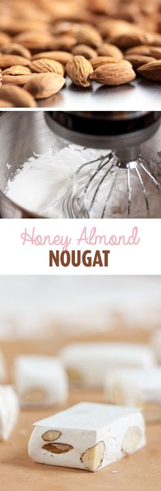 This honey almond nougat is nothing like the 'nougat' you'll find in a candy bar. It has the delicate flavour of honey combined with fresh toasted almonds.