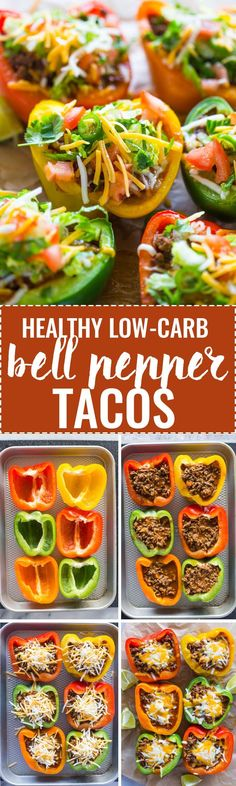 Skinny Low-Carb Bell Pepper Tacos Roasted bell peppers stuffed with taco spiced beef and topped with cheese. These stuffed peppers proudly represent the low-carb diet in all its glory. They are delicious, nutritious, and are sure to please just about Beef Recipes, Mexican Food Recipes, Low Carb Recipes, Cooking Recipes, No Carb Dinner Recipes, Ground Beef Keto Recipes, Recipies, Turkey Meat Recipes, Taco Salad Recipes