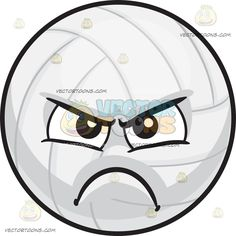 An Angry Volleyball :  A round ball with rectangular panels made out of white leather nearly rectangular panels black brows furrowed as his lips frown in anger and disappointment  The post An Angry Volleyball appeared first on VectorToons.com.