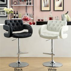Furniture of America Vardara Button-tufted Adjustable Swivel Bar Stool | Overstock.com Shopping - Great Deals on Furniture of America Bar St...