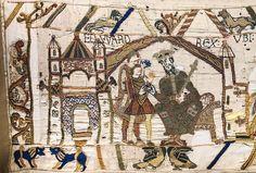 Bayeux Tapestry. Escena el 1. Eduardo el Confesor envia a Harold el Sajón a comunicar a Guillermo de Normandia su elección como sucesor al trono de Inglaterra. Vid.WIKI